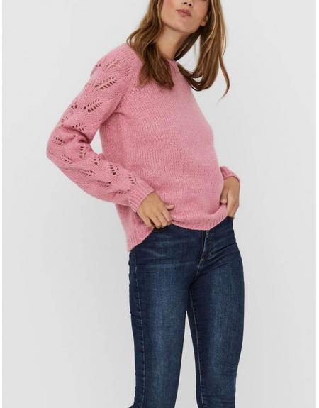 Jersey rosa Vero Moda Winnie mangas caladas para mujer - Imagen 2