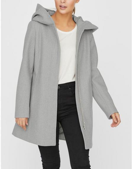 Abrigo gris Vero Moda Dafnedora con capucha para mujer - Imagen 2