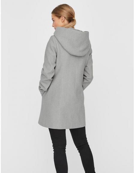 Abrigo gris Vero Moda Dafnedora con capucha para mujer - Imagen 3