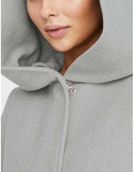 Abrigo gris Vero Moda Dafnedora con capucha para mujer - Imagen 4
