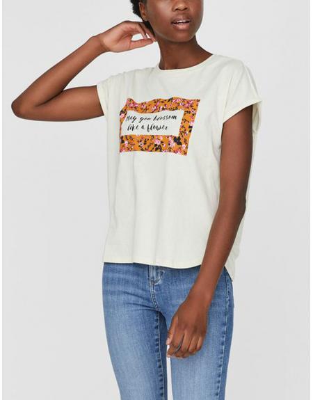 Camiseta beige print Vero Moda Venjaava para mujer - Imagen 1