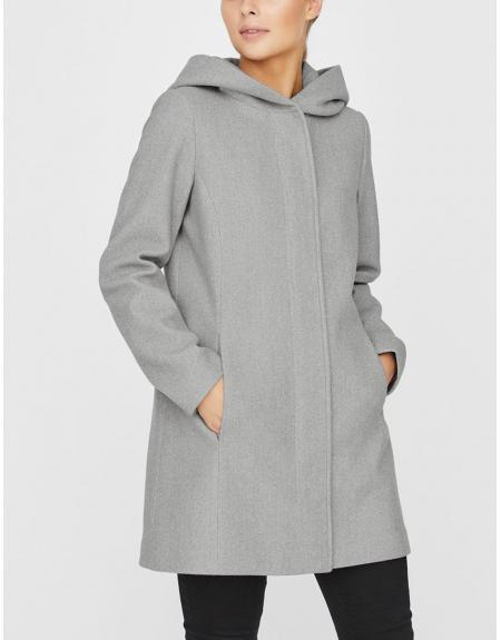 Abrigo gris Vero Moda Dafnedora con capucha para mujer - Imagen 6