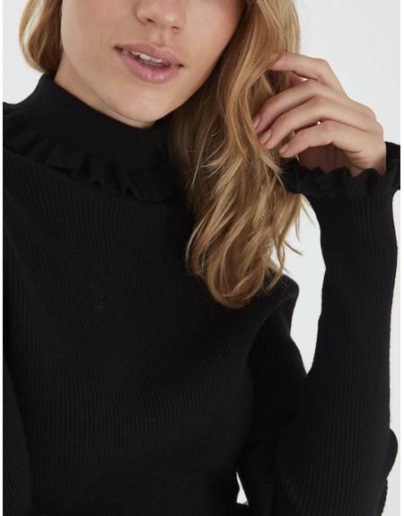 Jersey semicisne negro volantes Byoung Bynada para mujer - Imagen 5