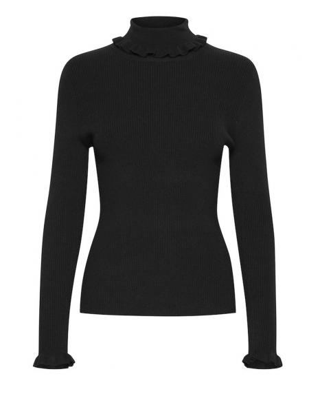 Jersey semicisne negro volantes Byoung Bynada para mujer - Imagen 6