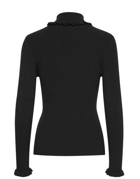 Jersey semicisne negro volantes Byoung Bynada para mujer - Imagen 7