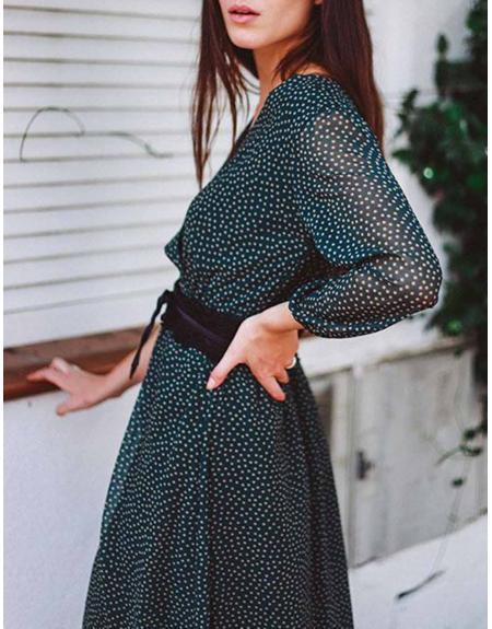 Vestido topitos verde cinto La Musa para mujer - Imagen 3