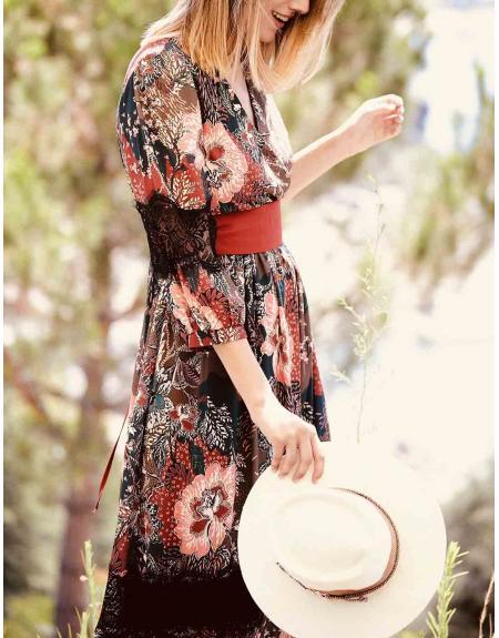 Vestido estampado con puntilla  Zelenque La Musa para mujer - Imagen 1