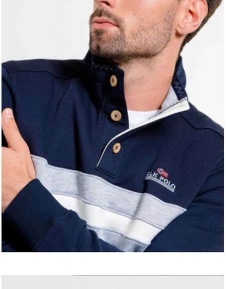 Sudadera azul marino CLK Kebo cuello 3 botones para hombre - Imagen 1