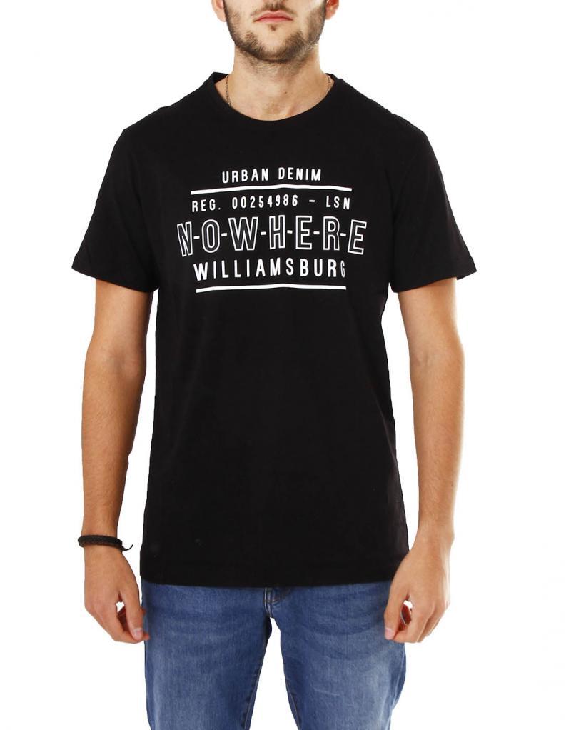 Camiseta negra manga corta Losan urban denim para hombre - Imagen 1