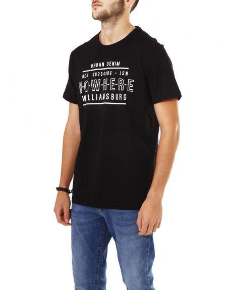 Camiseta negra manga corta Losan urban denim para hombre - Imagen 2