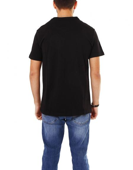 Camiseta negra manga corta Losan urban denim para hombre - Imagen 3