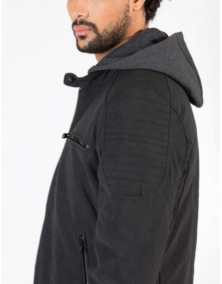Cazadora motera negro capucha tejido polipiel Tiffosi Bates para hombre - Imagen 3