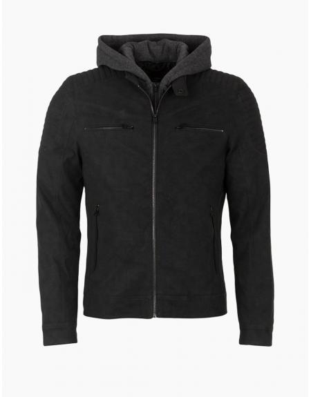 Cazadora motera negro capucha tejido polipiel Tiffosi Bates para hombre - Imagen 5
