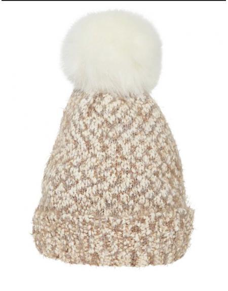 Gorro con pompón beige Ichi IAlinnett  para mujer - Imagen 1