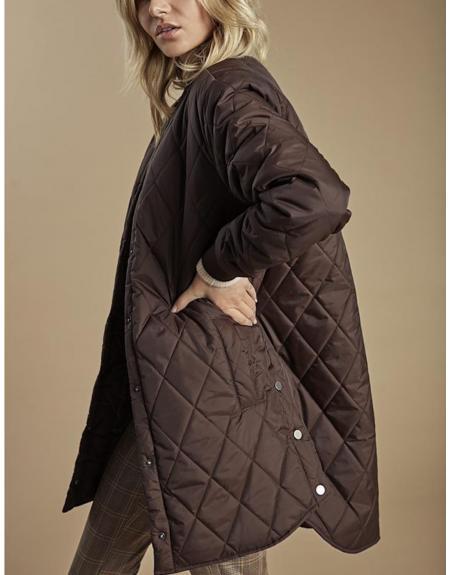 Cazadora larga marrón Byoung Canna para mujer - Imagen 1