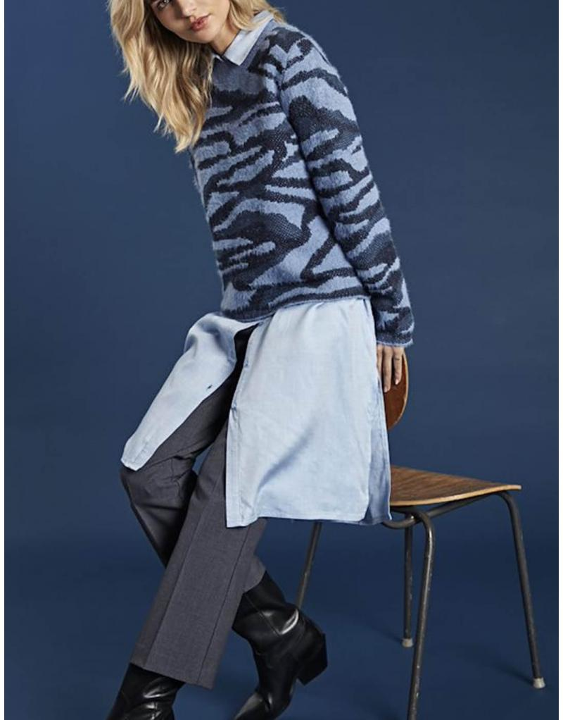 Jersey azul jaspeado Byoung Nolle para mujer - Imagen 1
