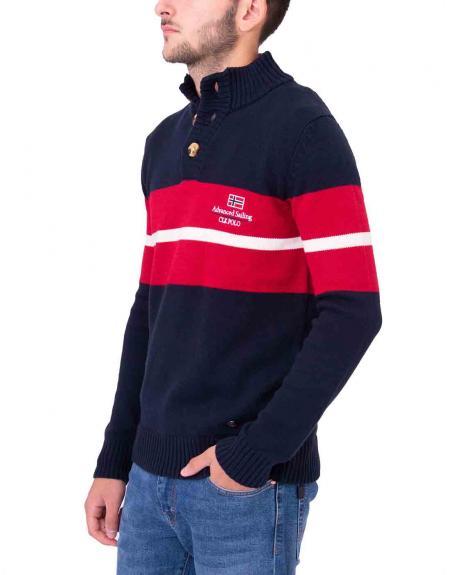 Jersey marino combinado cuello subido 3 botones CLK para hombre - Imagen 3