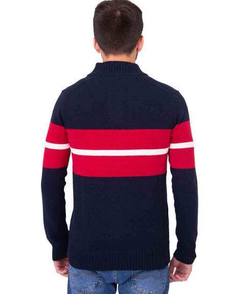 Jersey marino combinado cuello subido 3 botones CLK para hombre - Imagen 4