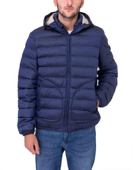 Cazadora azul brillo Gendive capucha para hombre - Imagen 1