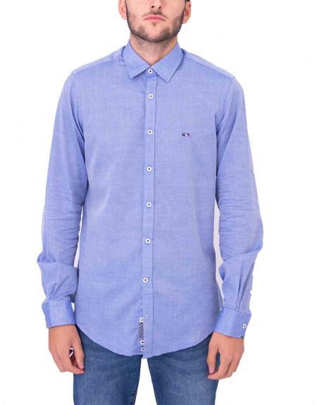 Camisa azul casual Gendive custom fit para hombre - Imagen 1