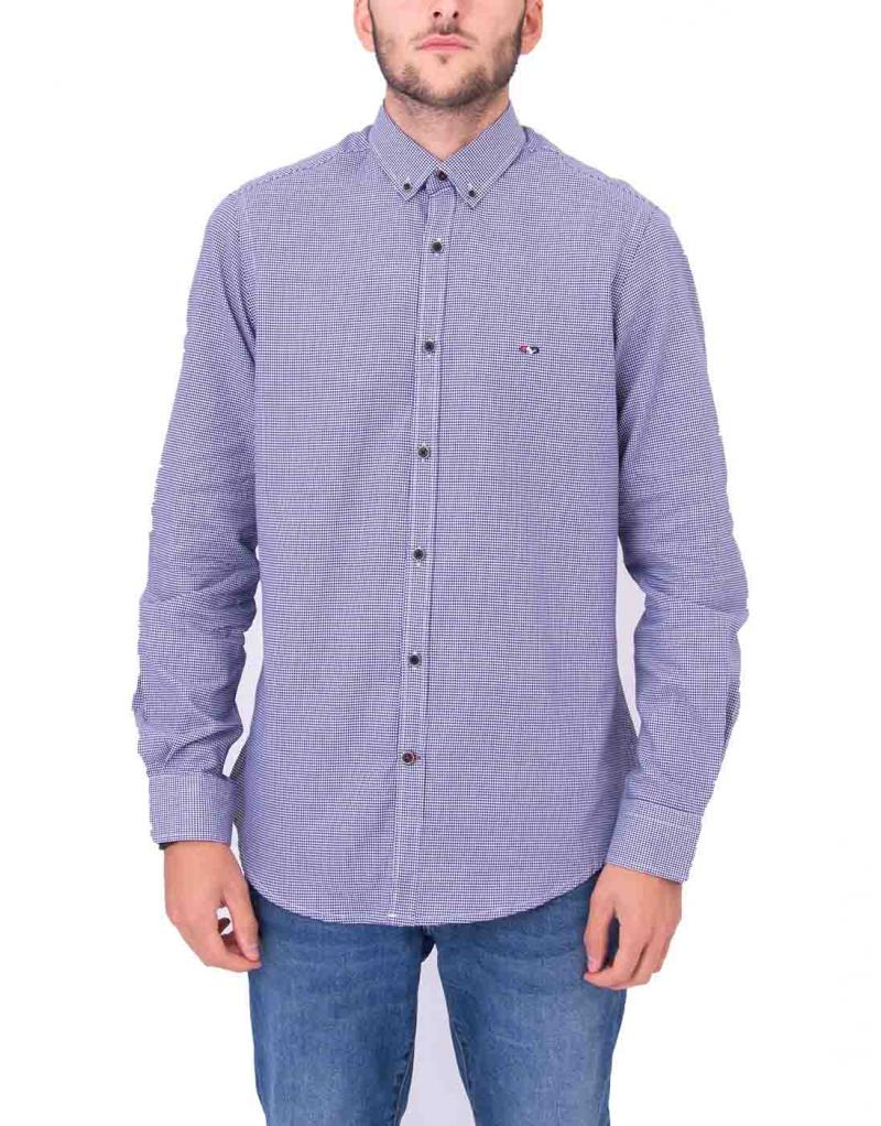 Camisa azul pequeños cuadros custom fit para hombre - Imagen 1