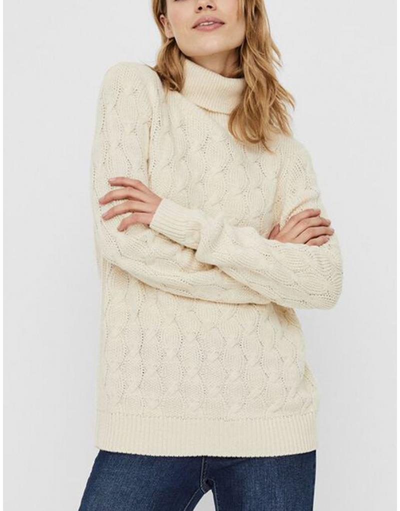 Jersey cuello vuelta crudo Vero Moda Waves para mujer - Imagen 1