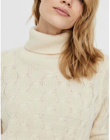 Jersey cuello vuelta crudo Vero Moda Waves para mujer - Imagen 4