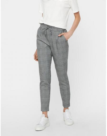 Pantalon cuadros gris con gomas Vero Moda Eva para mujer - Imagen 1
