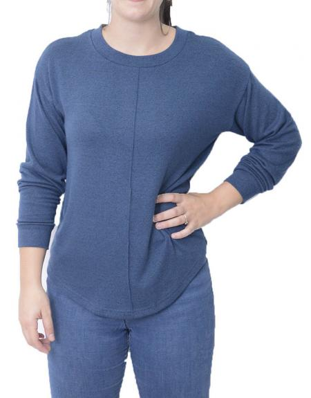 Camiseta azul manga larga Byoung Tanna para mujer - Imagen 1