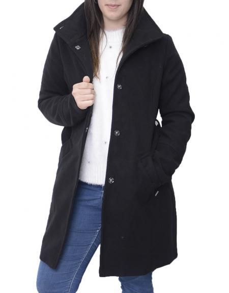 Abrigo negro cinto high neck Byoung  BYCIRLA para mujer - Imagen 1