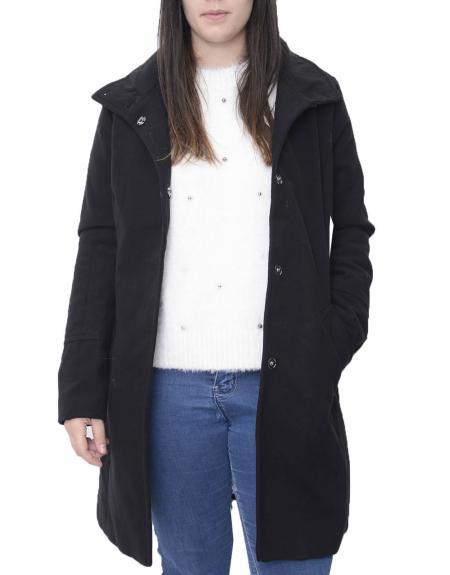 Abrigo negro cinto high neck Byoung  BYCIRLA para mujer - Imagen 2