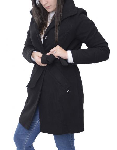 Abrigo negro cinto high neck Byoung  BYCIRLA para mujer - Imagen 3