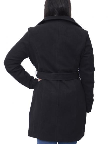 Abrigo negro cinto high neck Byoung  BYCIRLA para mujer - Imagen 4