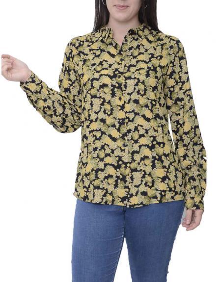 Camisa negra floral Ichi Yvonne para mujer - Imagen 1
