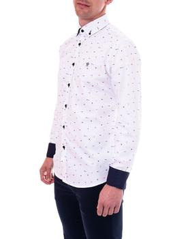 Camisa Cítrico blanco estampado London para hombre